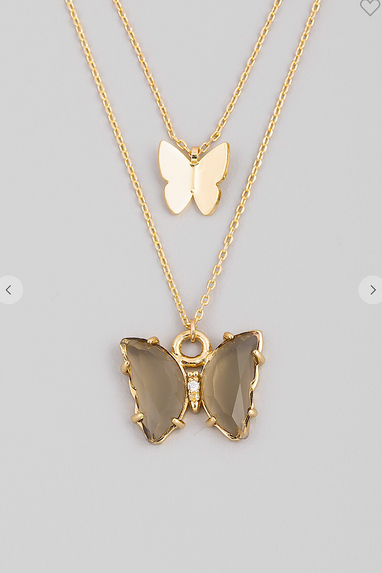 Layered Butterfly Necklace in Ombré