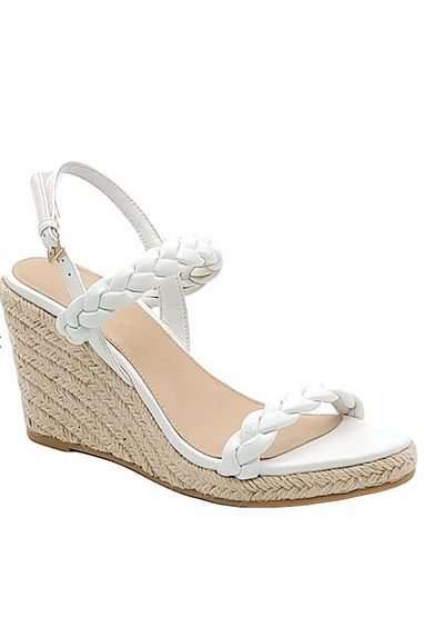 Luna White Braided Wedge Sandals