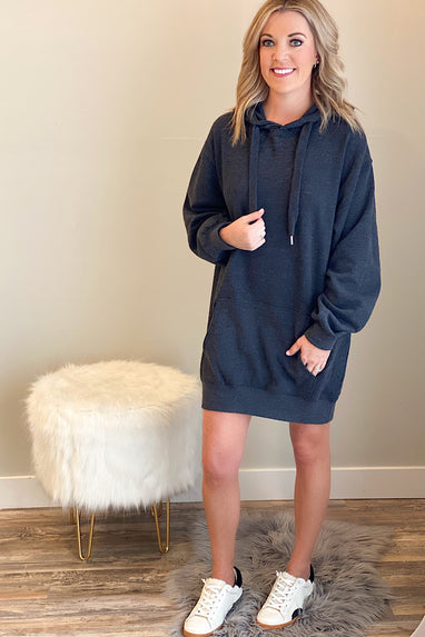 Fleece Oversized Tunic Sweatshirt Dress