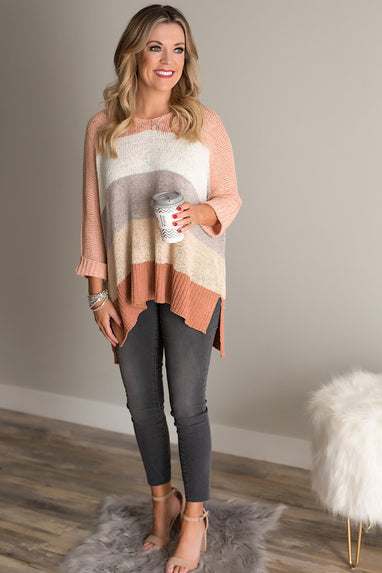 HiLo Striped Sweater in Cinnamon