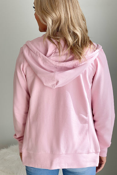 Zip Up Terry Hoodie in Pink