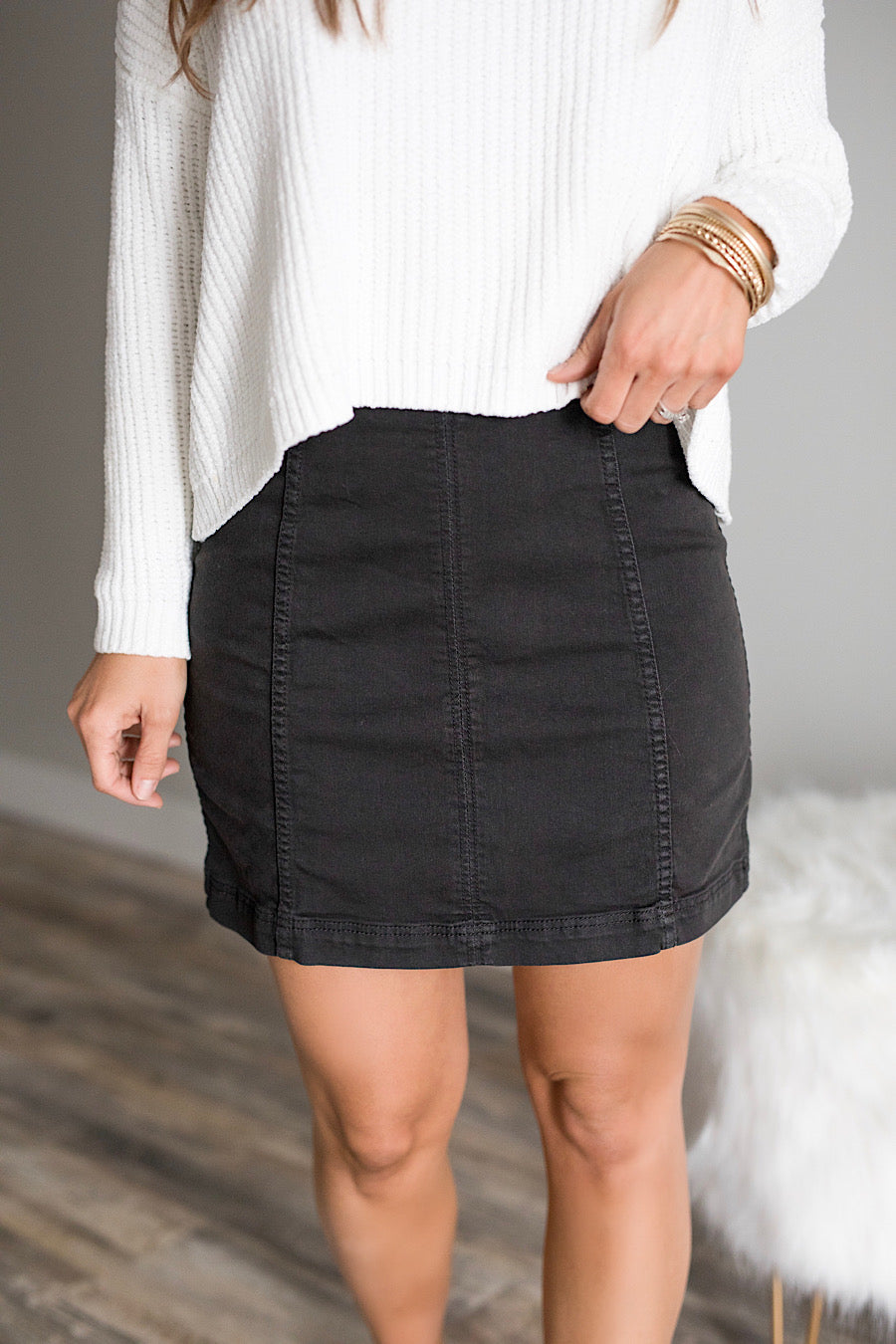 Free People Stretch Denim Skirt in Black