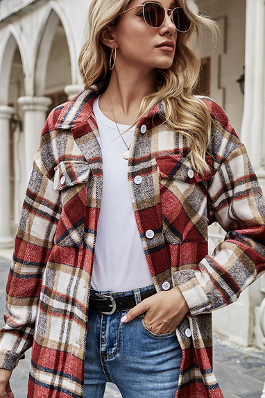 Plaid Shacket in Red Combo