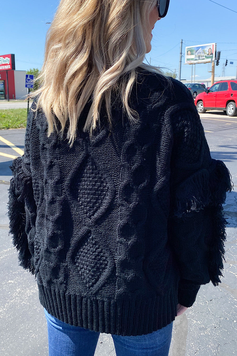 Fringe in Low Places Sweater in Black