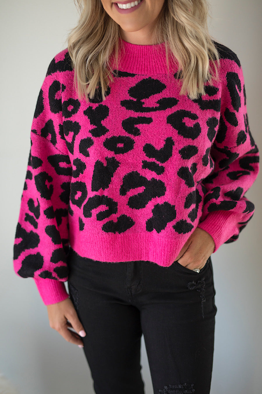 Soho Cropped Leopard Sweater in Bright Pink