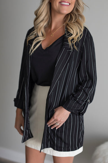 Back to Business Striped Blazer