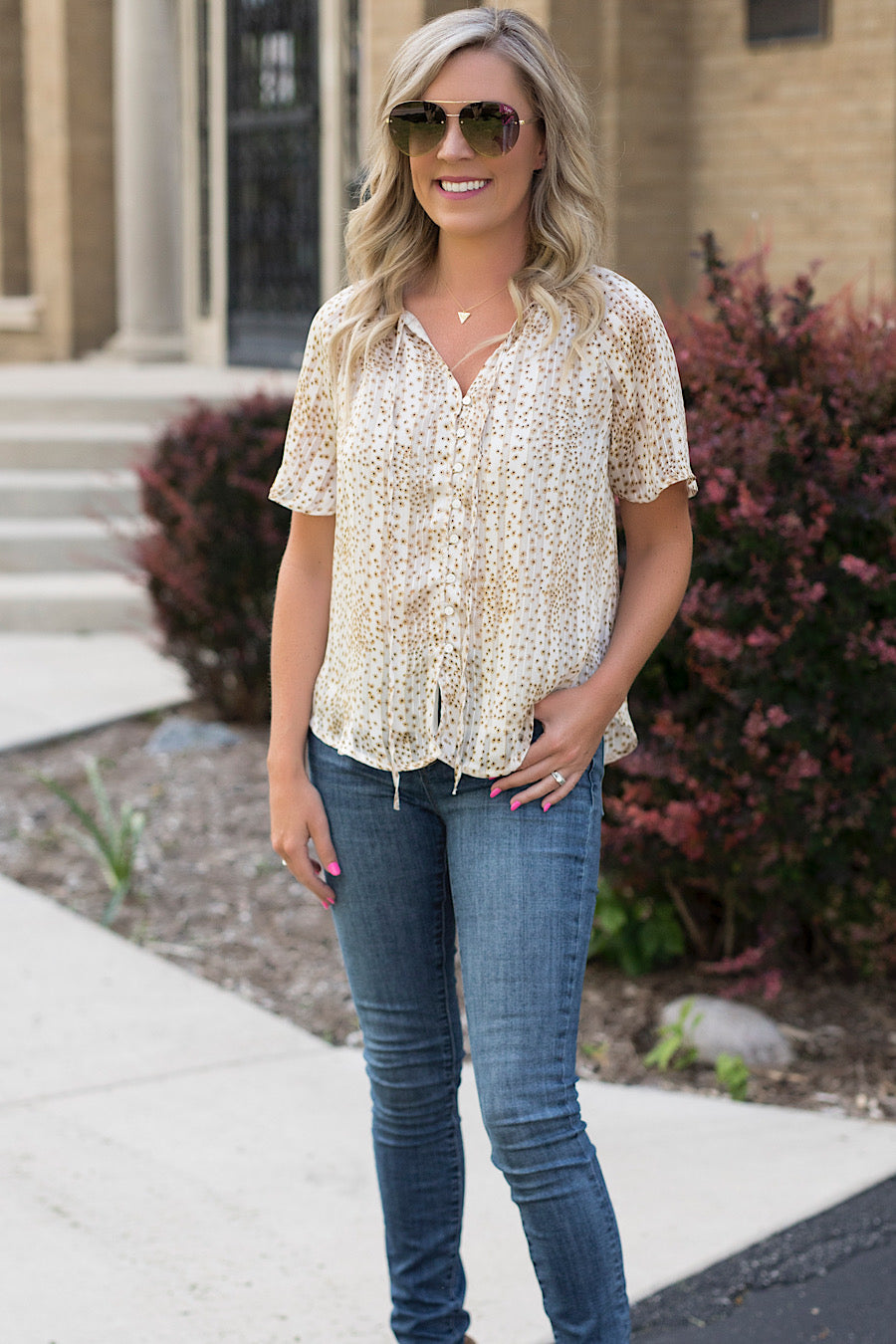 Sooner or Later Flutter Tie Blouse in Taupe