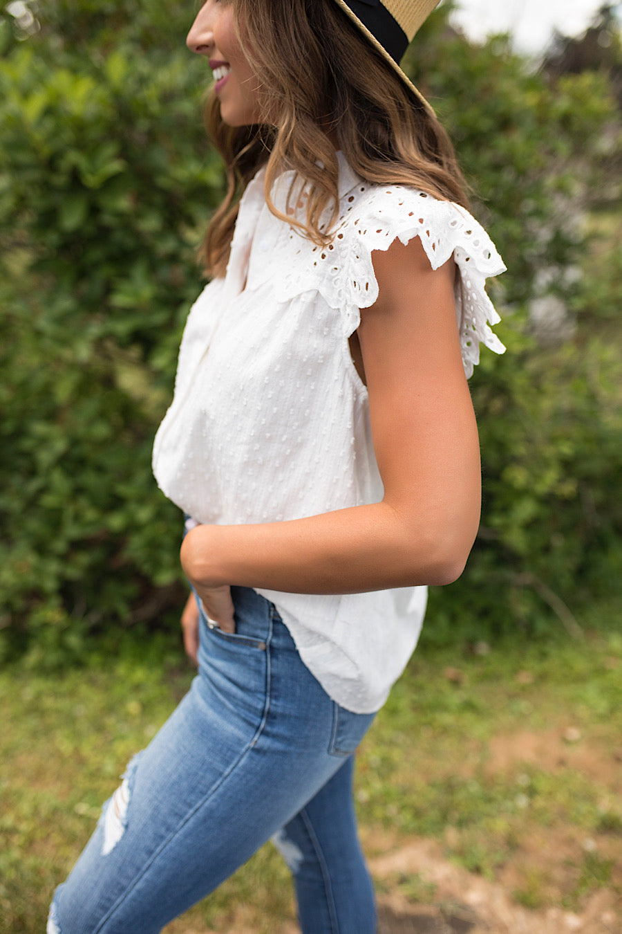 Eyelet Crochet Button Down Top