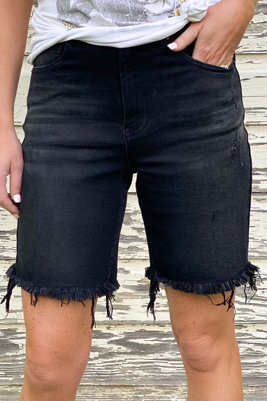 Distressed Black Denim Shorts