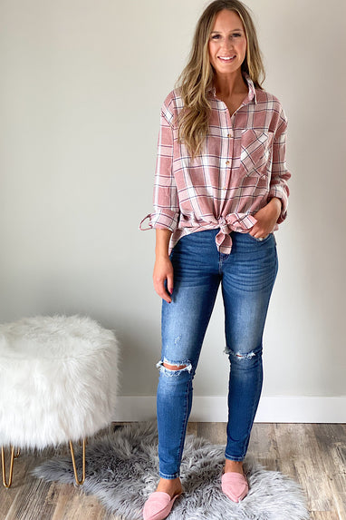 Pink Flannel Button Down Shirt