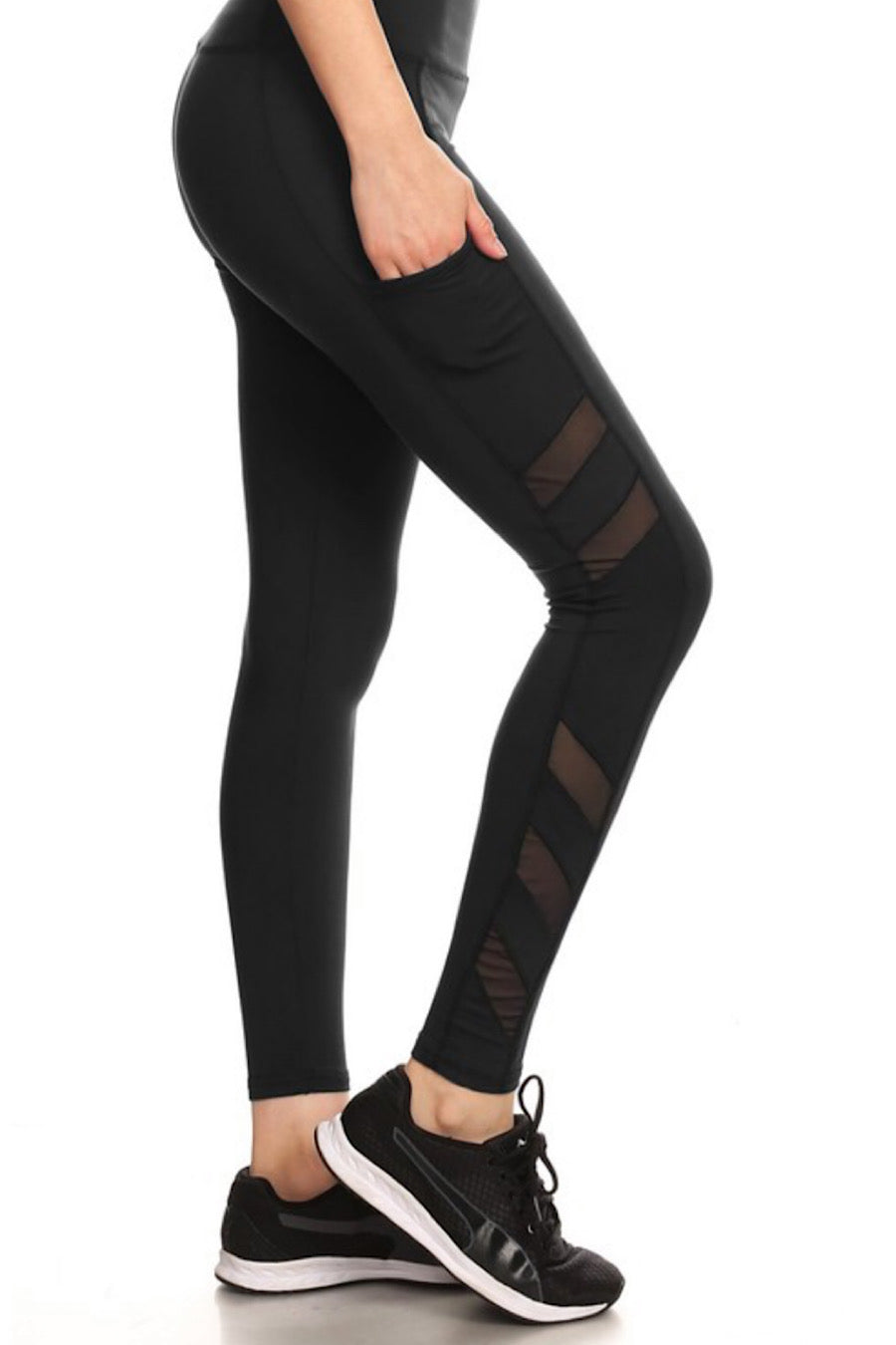 Mesh Panel Leggings in Black
