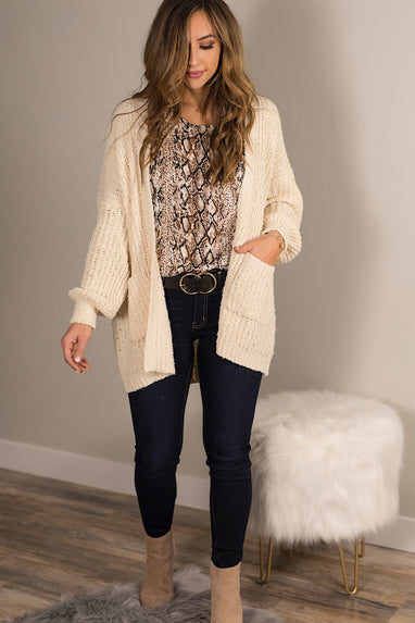 Lush Open Front Cardigan in Cream