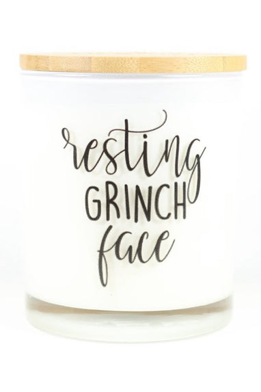 Resting Grinch Face Candle in Peppermint Mocha