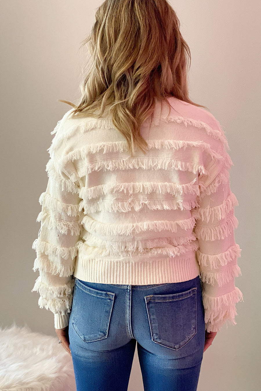 Du Jour Fringe Top in Ivory