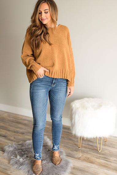 Chenille Open Back Sweater