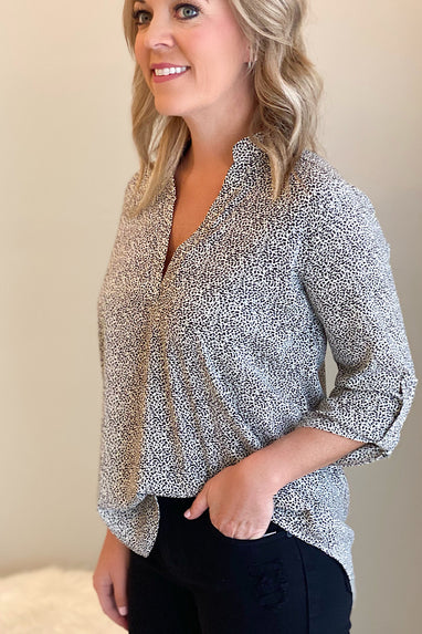 Spotted V-Neck Blouse