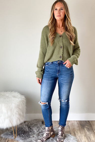 Button Down Angora Cardigan