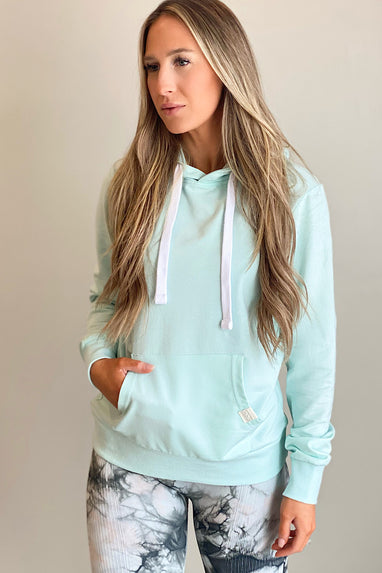 French Terry Hooded Sweatshirt in Mint