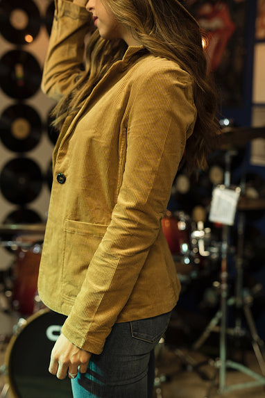 Corduroy Fitted Blazer in Camel