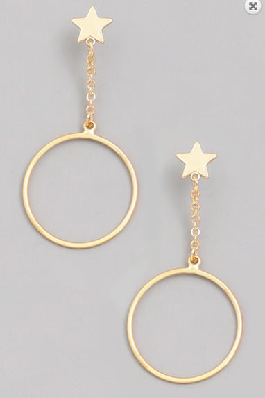 Gold Drop Circle Earrings