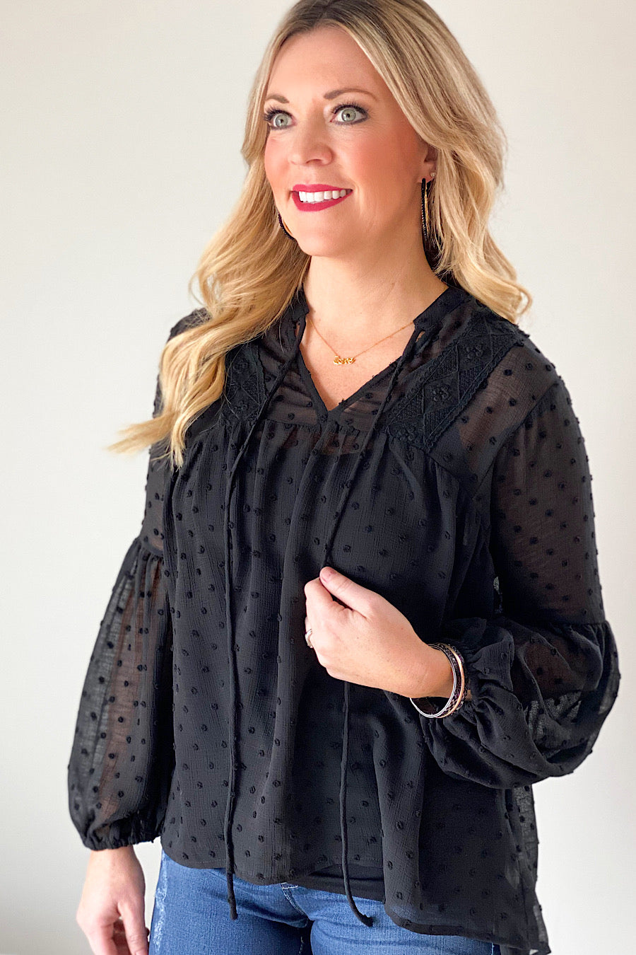 Dotted Lace Blouse in Black