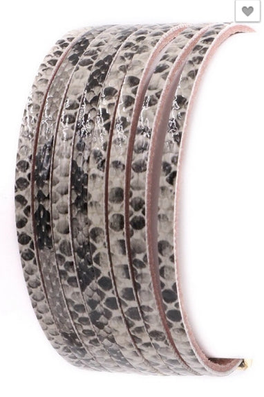 Snakeskin Print Wrap Bracelet in Grey