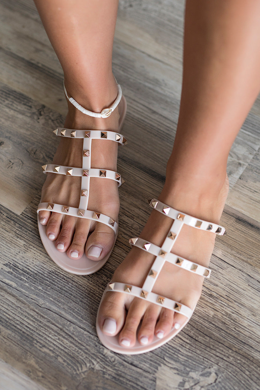 Joanie Studded Sandals in Tan