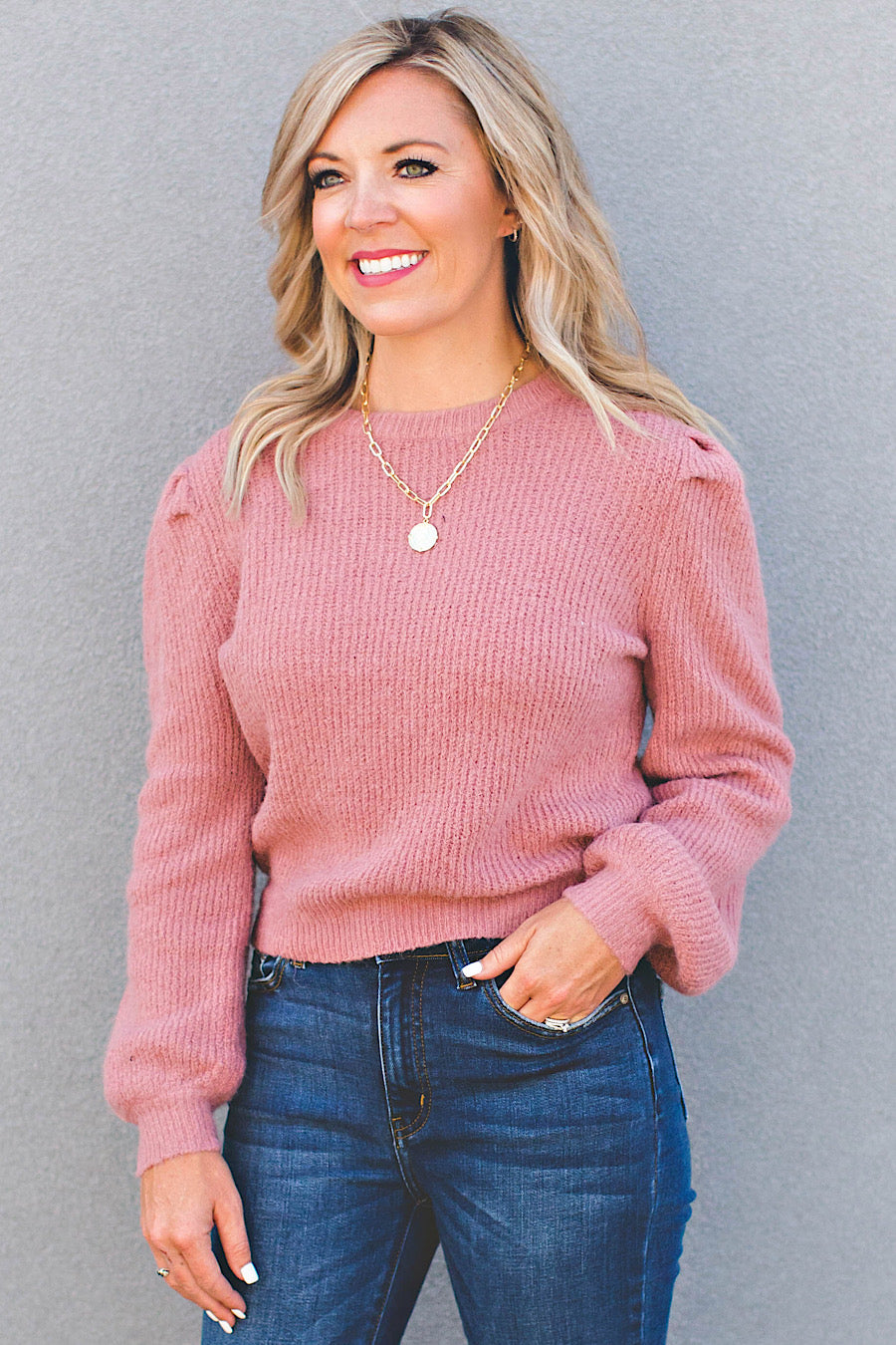 Smitten Puff Sleeve Top Top in Mauve