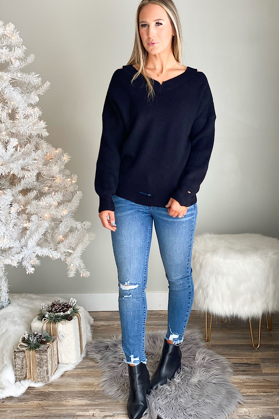 Vaughn Distressed Tunic Sweater