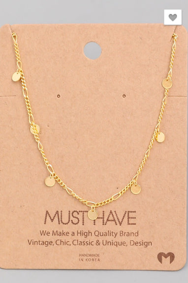 Mini Coin Necklace in Gold or Silver