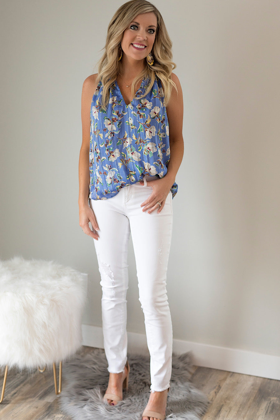 Blue Skies Sleeveless Blouse