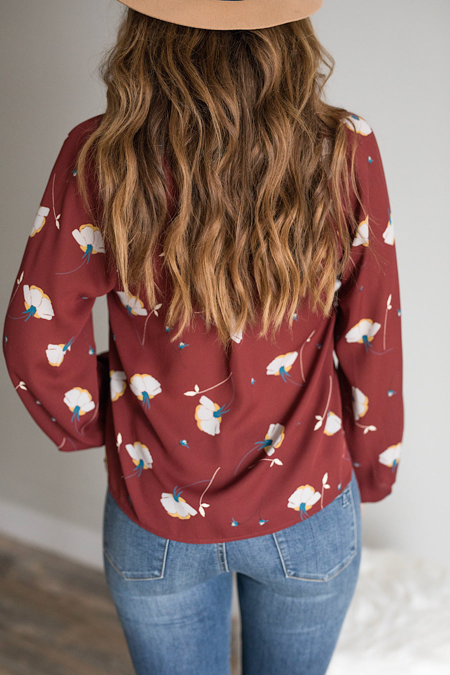 Katherine Floral Blouse in Merlot