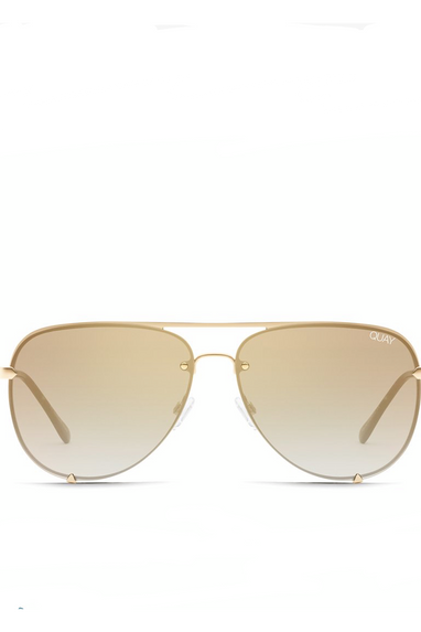 Quay HIGH KEY Rimless Mini Sunglasses GLD/BRWN