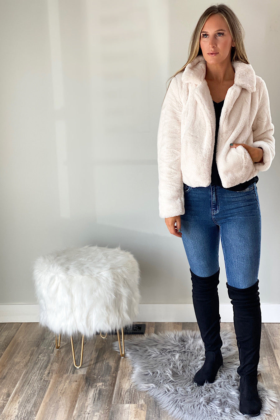 Blank NYC All Fur You Cropped Jacket