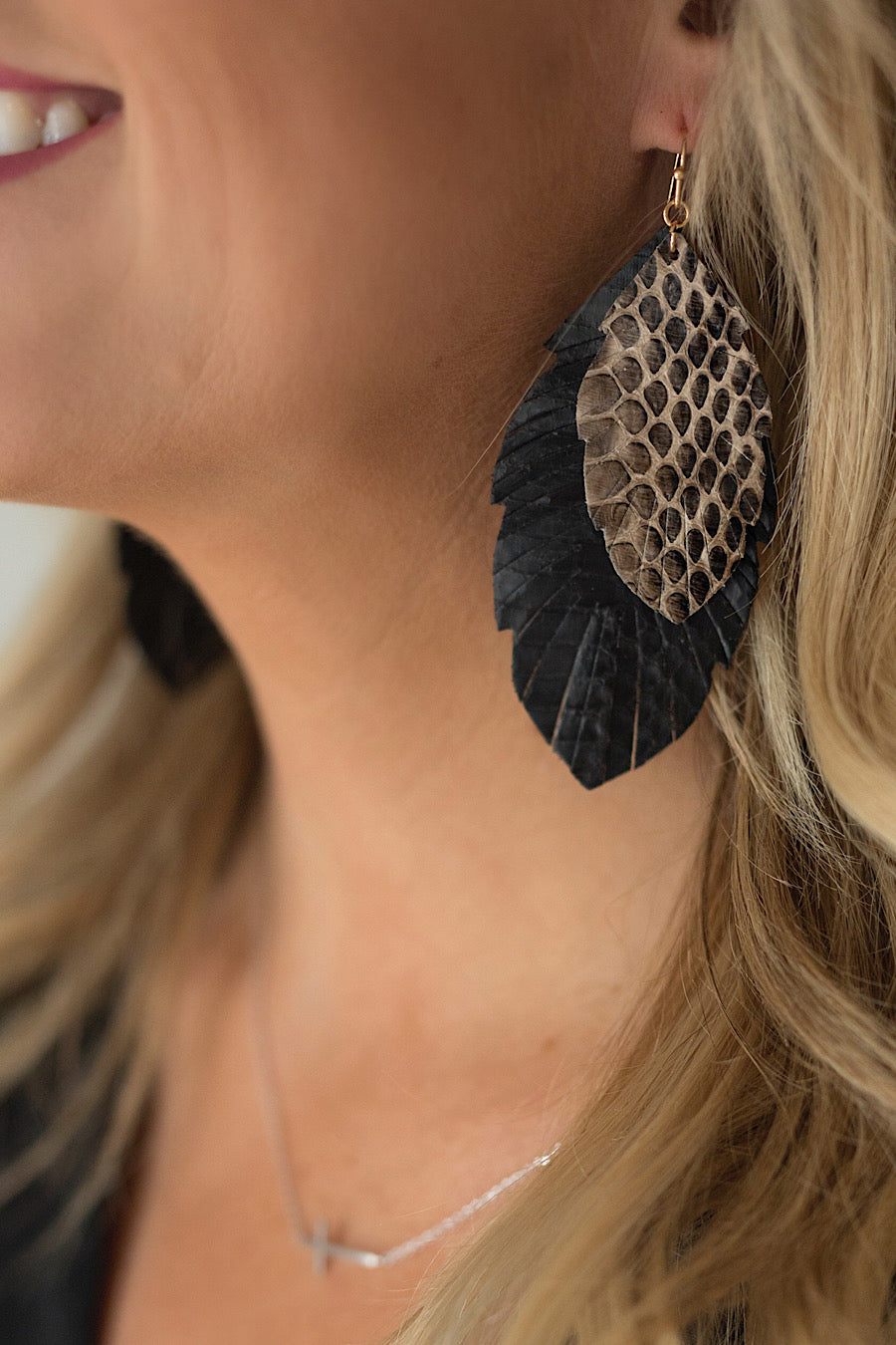 Snakeprint Feather Earrings in Tan or Black