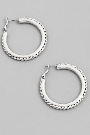 Chain Hoop Earrings in Gold or Silver