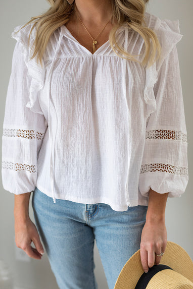 Lilith Crochet Peasant Top