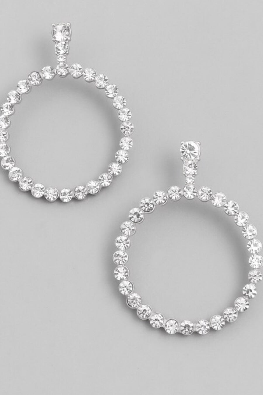 Crystal Drop Hoop Earrings in Gold or Silver