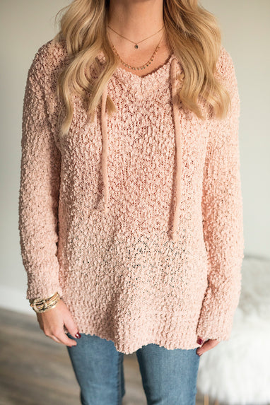 Popcorn Hoodie Sweater in Blush