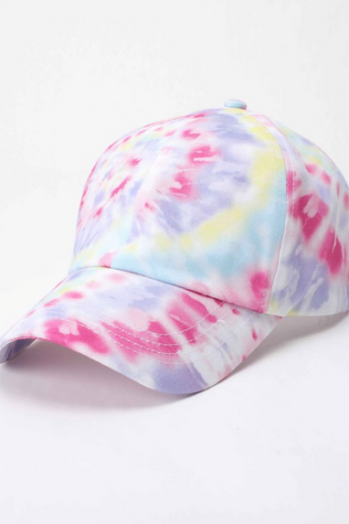 Cotton Tie-Dye Baseball Cap in Bright Pink