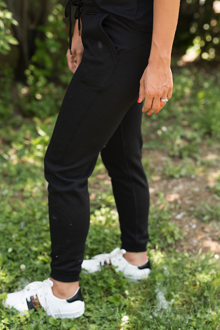 Fleece Joggers with Pockets in Black