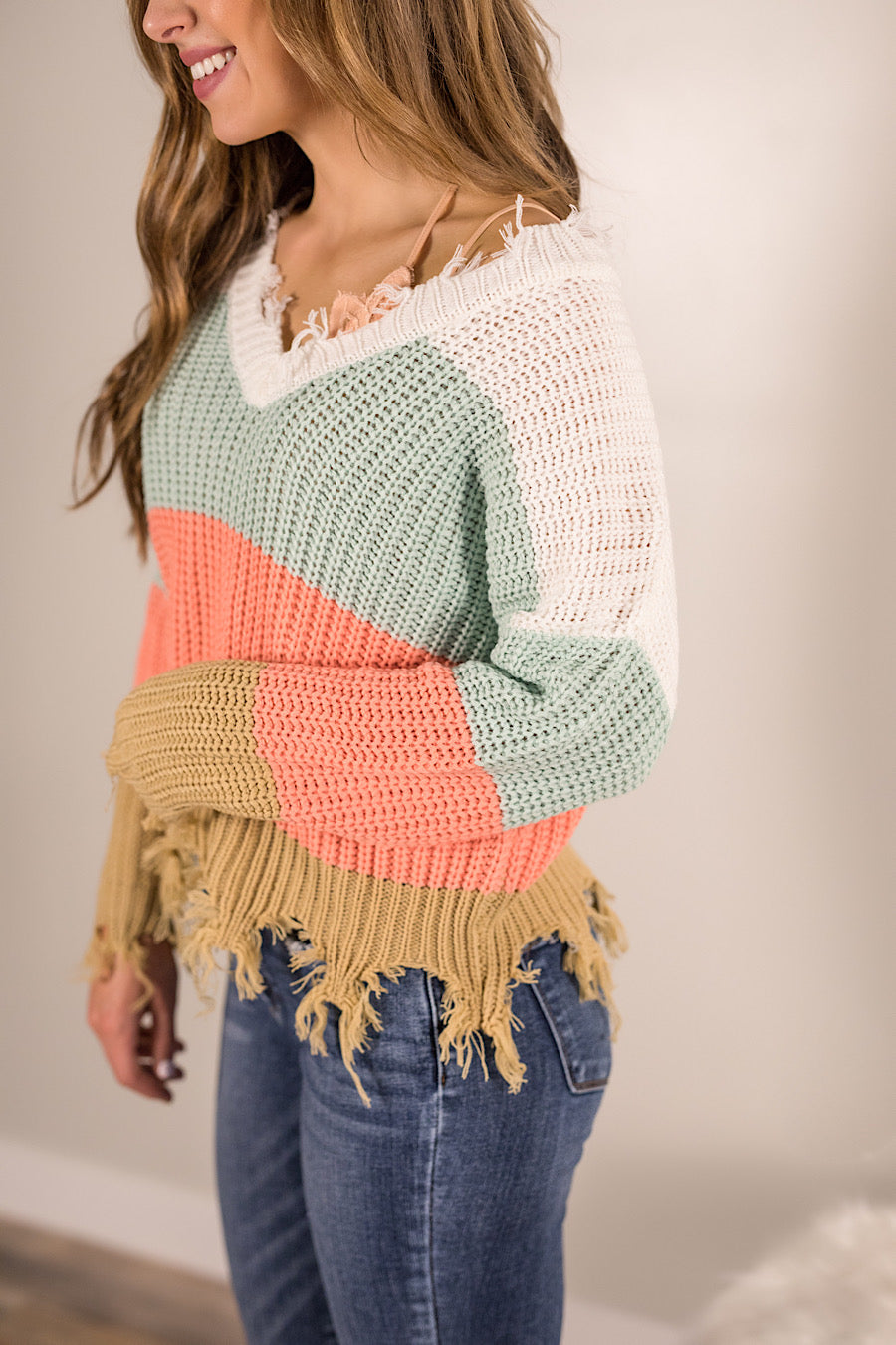 Mint Distressed Colorblock Sweater
