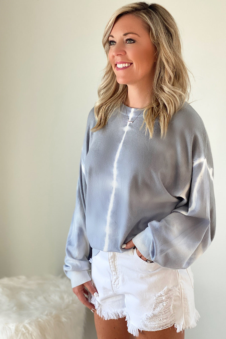 Ash Grey Tie Dye Dolman Sweater
