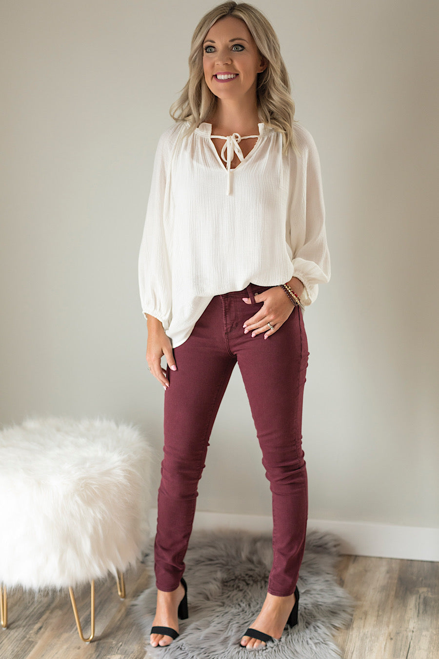 White Lush Peasant Top