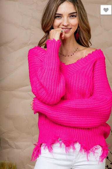 Neon Fuchsia Distressed Sweater