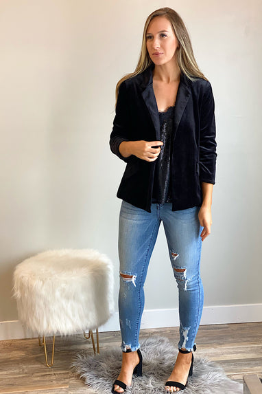 Generation Velvet Blazer in Black