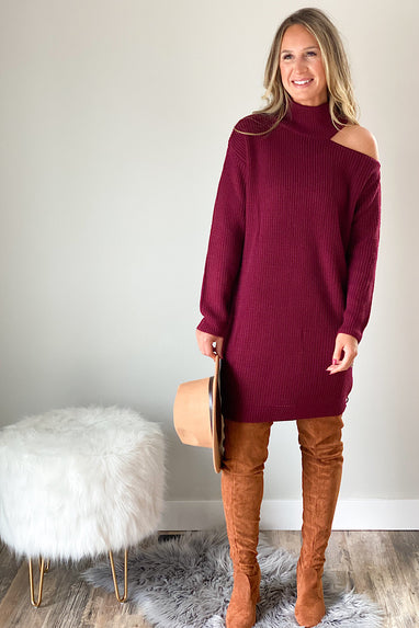 Dark Side Cutout Sweater Dress In Wine