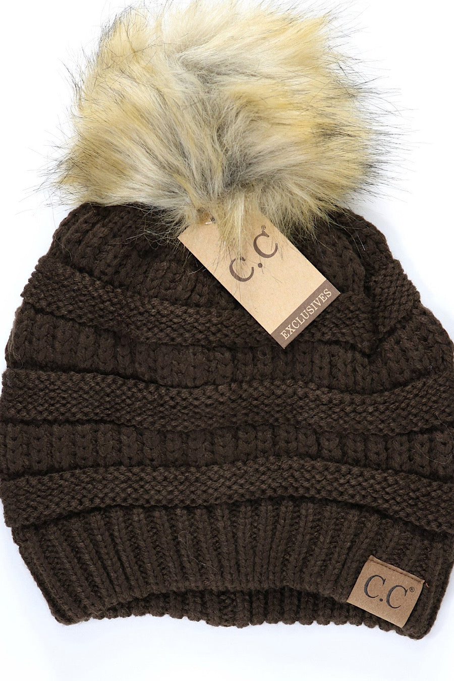 CC Fur Pom Pom Beanie! Available in Black, Brown, Grey, Olive