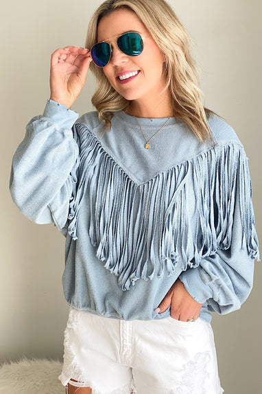 Fringe Terry Beach Sweatshirt