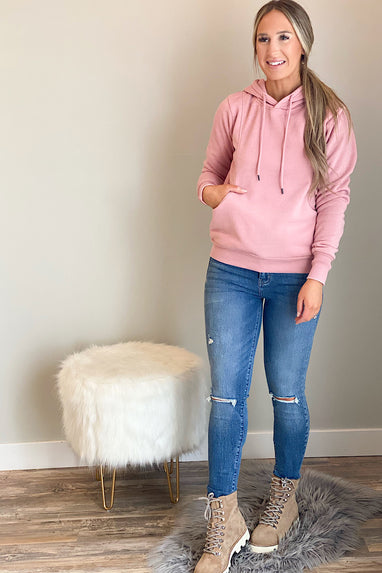 Burnout Hooded Sweatshirt in Pink